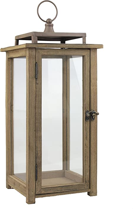 Amazon Com Stonebriar 18 Inch Rustic Wooden Candle Hurricane Lantern For Table Top Mantle Wall Hanging Or Garden Display Indoor Outdoor Use Extra Large Home Kitchen