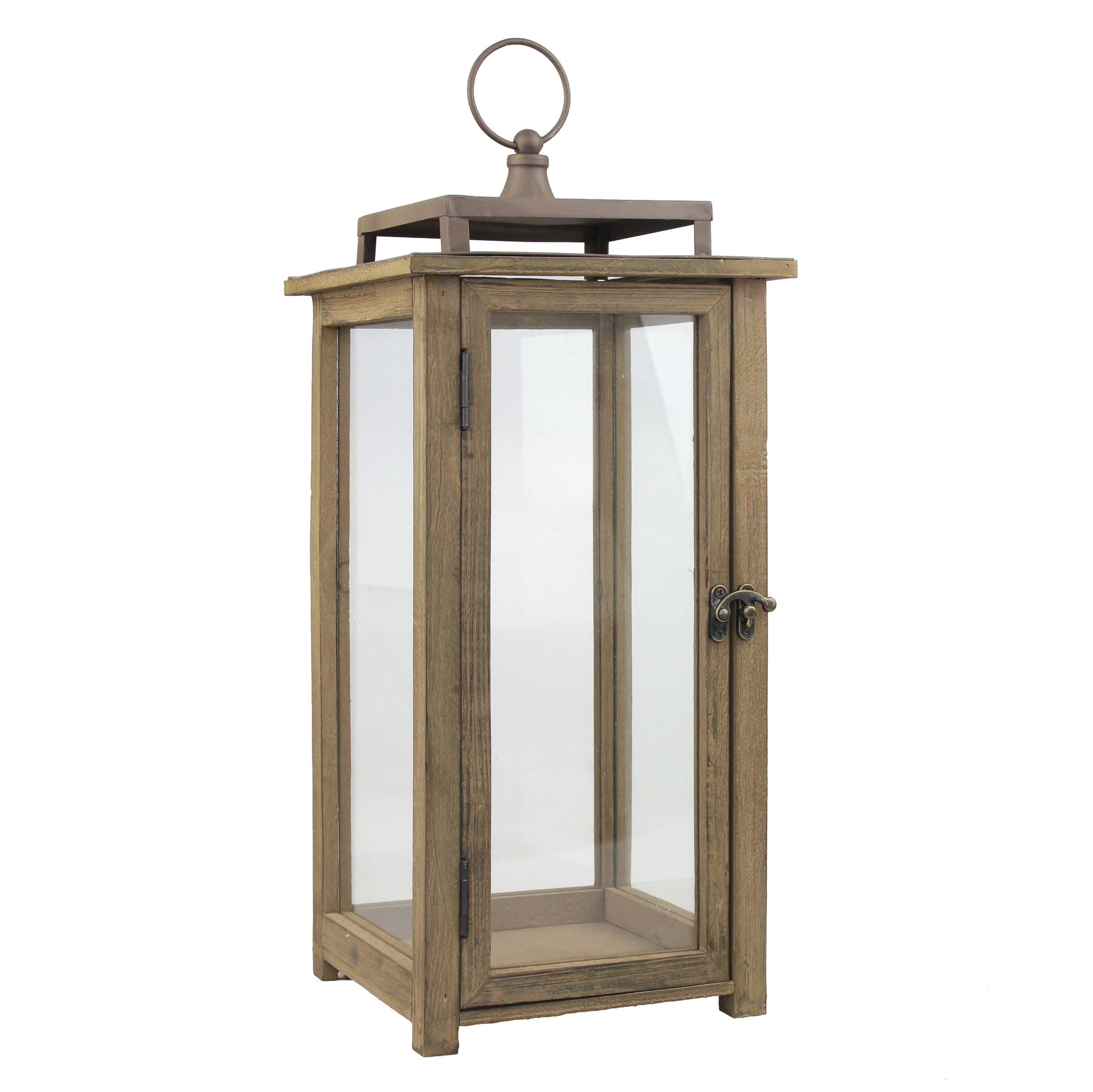 Stonebriar 18 Inch Rustic Wooden Candle Hurricane Lantern, For Table Top, Mantle, Wall Hanging, or Garden Display, Indoor & Outdoor Use, Large