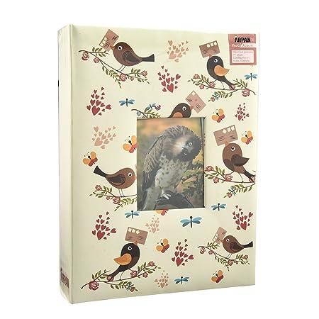 Cream-Bird-Floral ARPAN Fashion Design 200 Holds Album for 5X7 21.5 x 4 x 28.5 cm Photo with Window 13X18cm
