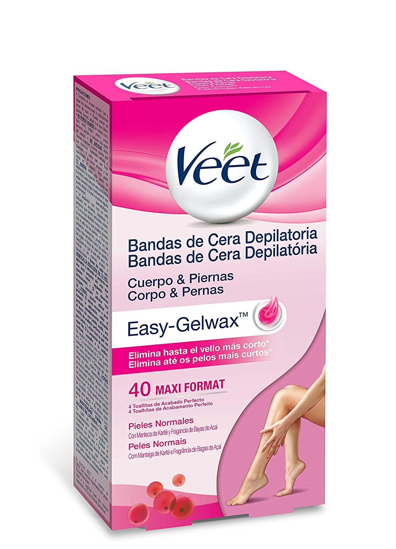 Veet Bandas de Cera Depilatoria -Easy Gelwax,Pieles Sensibles, 40 bandas Reckitt Benckiser 3035260