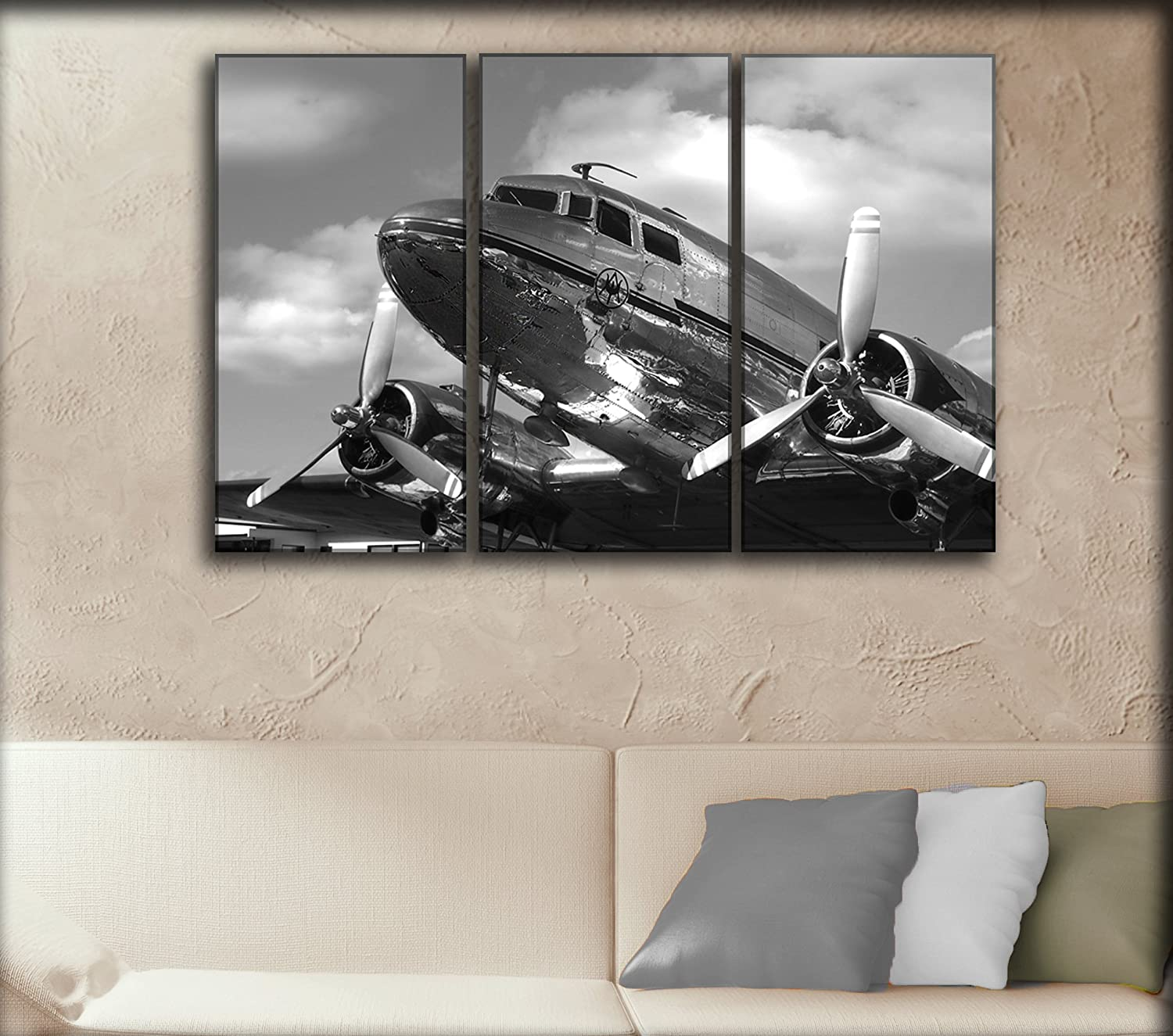Amazon 3 panel dc 3 dakota airplane canvas art aircraft amazon 3 panel dc 3 dakota airplane canvas art aircraft canvas wall art vintage plane picture propeller wall canvas art wall home decoration amipublicfo Choice Image