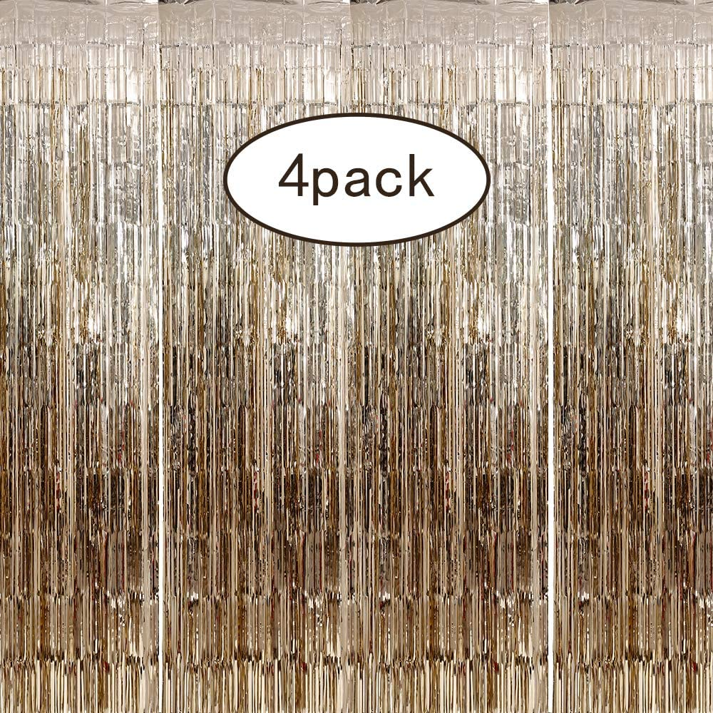 4 Pack 3.28 ft x 8.2 ft Metallic Tinsel Foil Fringe Curtain Rainbow - Tinsel Door Curtains - Party Photo Backdrop Wedding Baby Shower Birthday Decor (Champagne)
