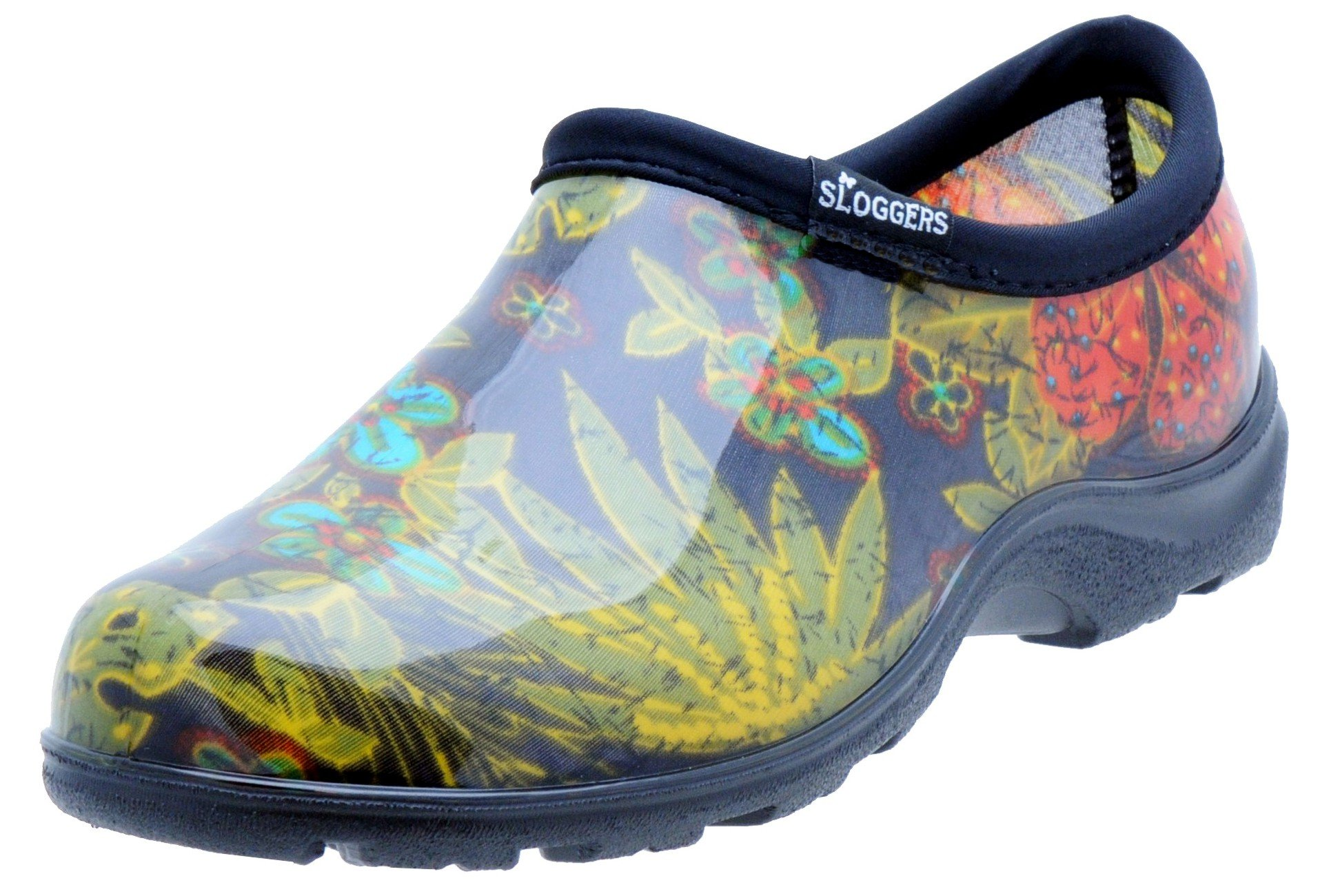 Sloggers  Women's Waterproof  Rain and Garden Shoe with Comfort Insole, Midsummer Black, Size 7,  Style 5102BK07