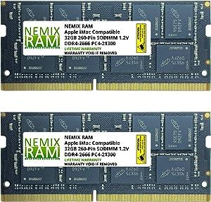"64GB (2x32GB) DDR4-2666MHz PC4-21300 SO-DIMM Memory for Apple 27"" iMac with Retina 5K Display Mid 2020 (iMac 20,1 iMac 20,2) by NEMIX RAM"