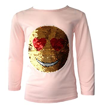 57177969e Amazon.com: Kids Emoji Emoticon Smiley FACE Tops TEE TOP Brush Changing Sequin  New Age 3-14: Clothing