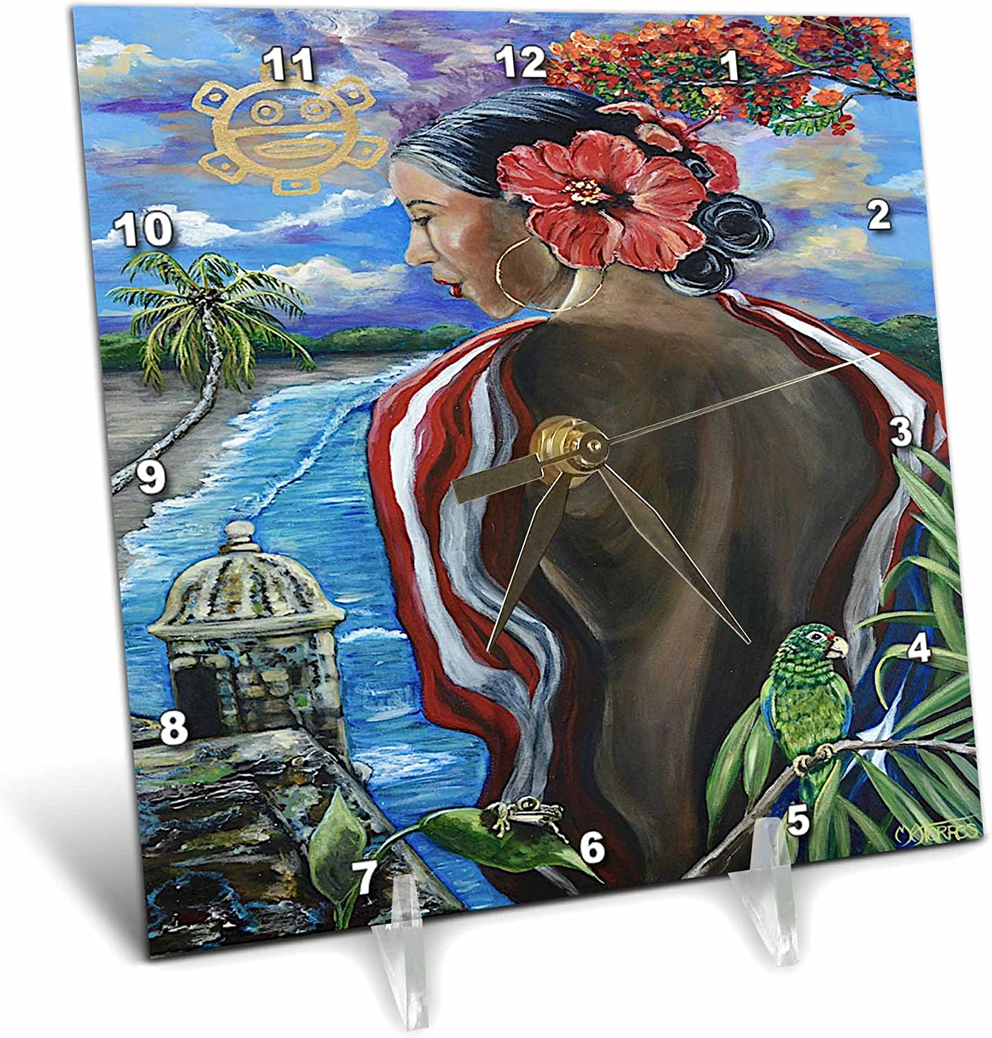 3dRose Melissa A. Torres Art Puerto Rican Art - Image of Woman with Puerto Rican Imagery - 6x6 Desk Clock (dc_261559_1)