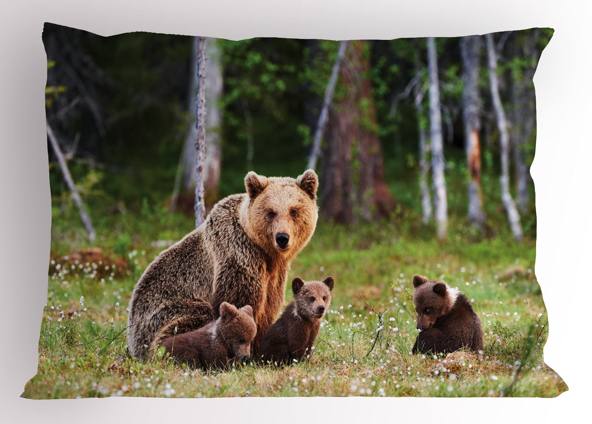 Lunarable Nature Pillow Sham, Wild Mother Grizzly Bear Protecting Her Babies in Forest Jungle Animal Print, Decorative Standard King Size Printed Pillowcase, 36 X 20 inches, Green and Brown