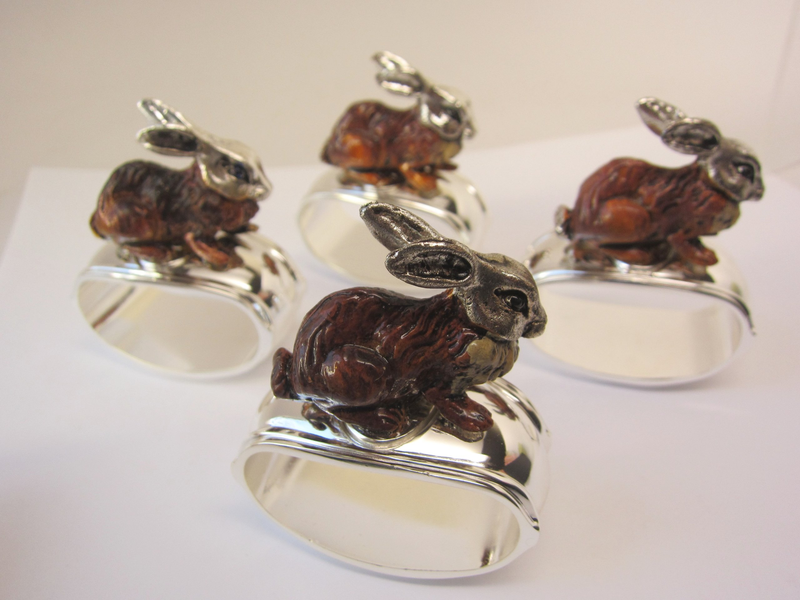 Hans Turnwald Set 4 Rabbit Bunny Signed Silverplate Figural Napkin Rings Easter Gift Box by Hans Turnwald (Image #2)
