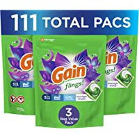 Gain Flings 3-in-1 Laundry Detergent Pacs, Moonlight Breeze Scent, 3 Bag Value Pack, 111 Count, HE Compatible