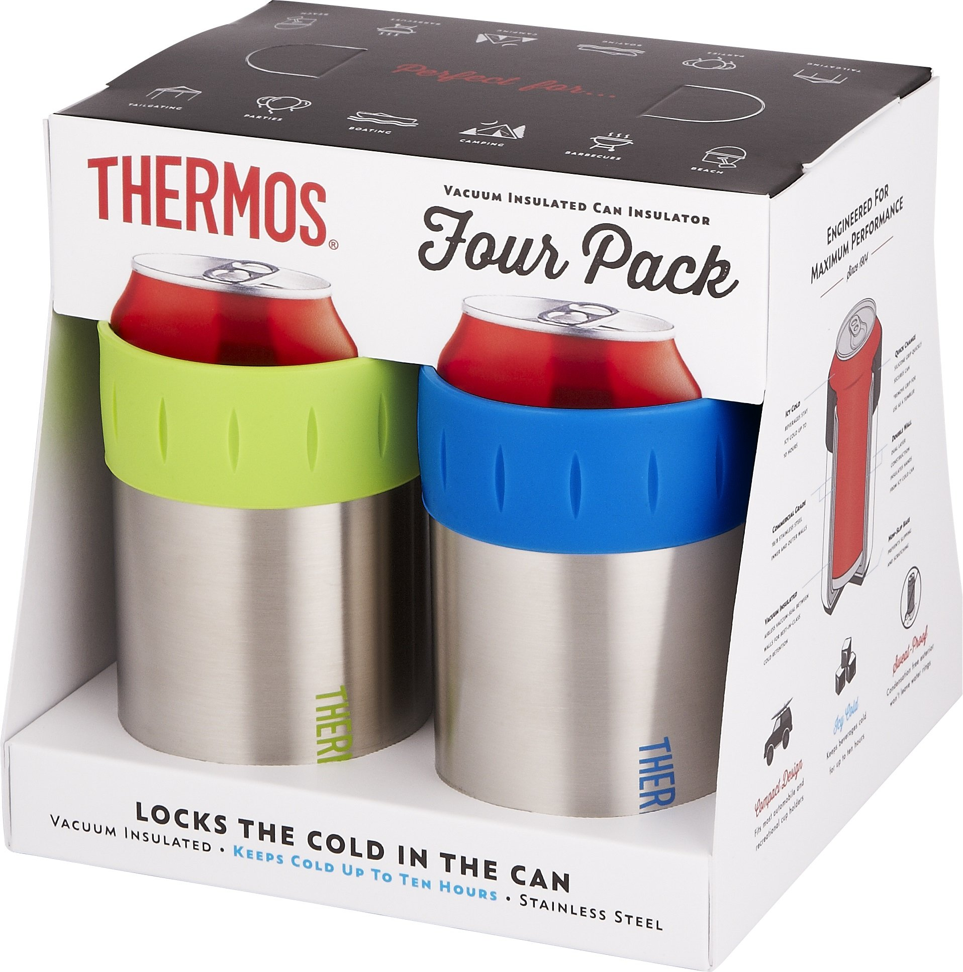 Thermos Stainless Vacuum Insulated 12 oz Can Insulator (Set of 4), Multicolor by Thermos