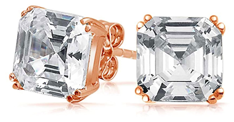 Bling Jewelry CZ Rose Gold Asscher Cut Stud Earrings 925 Sterling Silver 10mm ZDC-10MM-ASH-RG