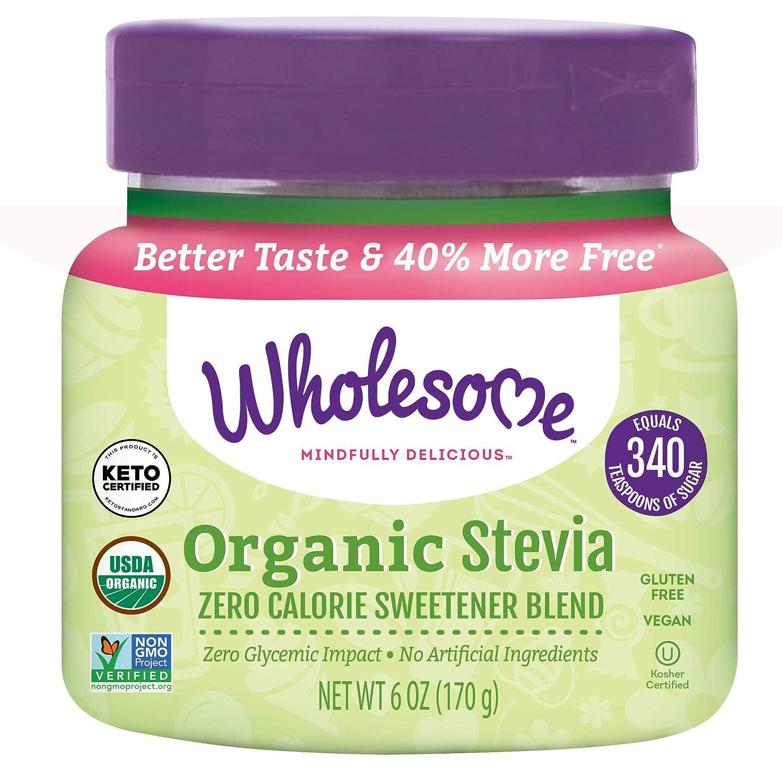 Wholesome Organic Stevia, Zero Calorie Sweetener Blend, Non GMO & Gluten Free, 6 oz jar (Pack of 1)