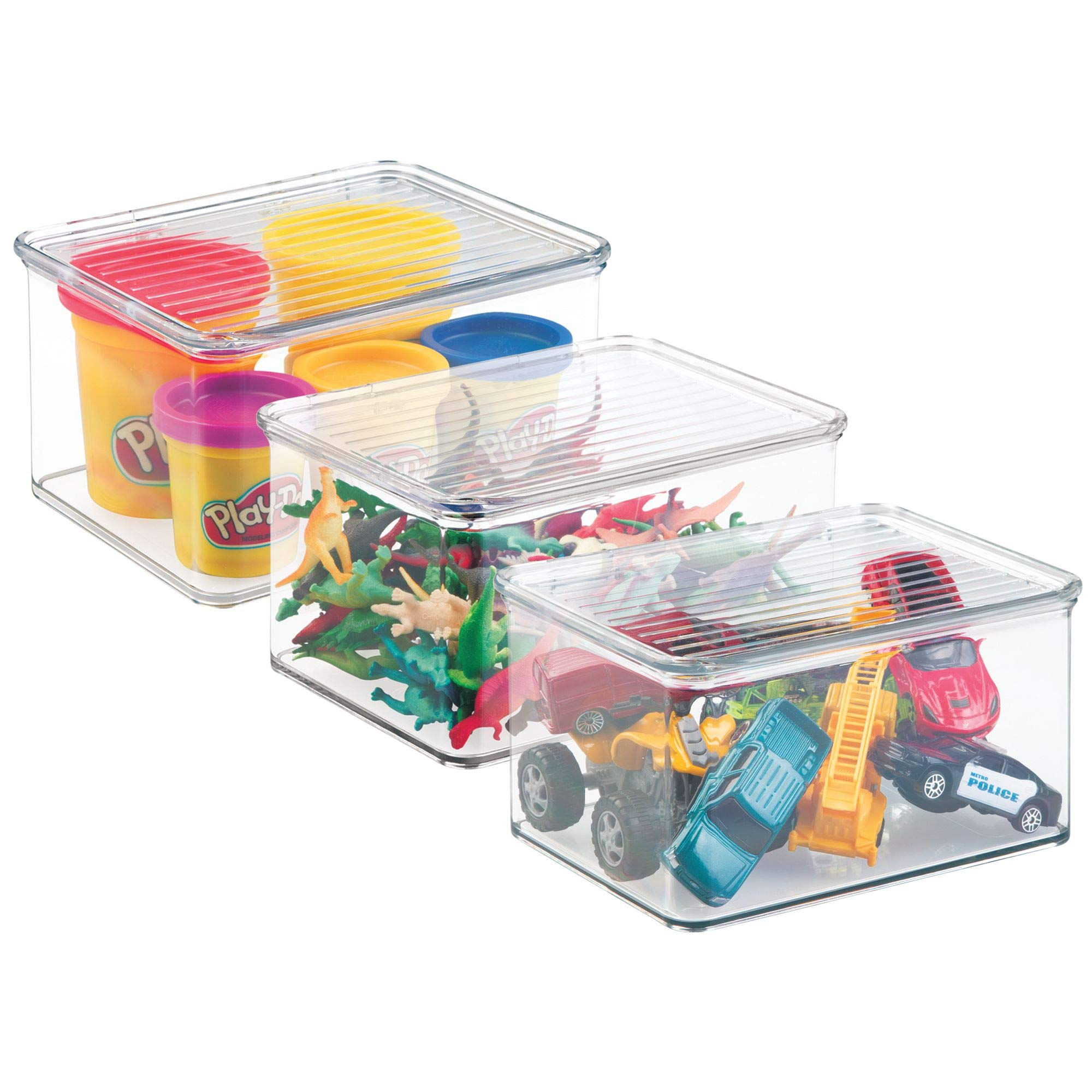 mDesign Kids Baby Cat Dog Small Plastic Stacking Toy Storage Organizer Box Case Containers with lid , for Action Figures, Crayons, Legos Puzzles Wood Blocks - 6.75'' x 5.5'' x 3.75'', Set of 3, Clear