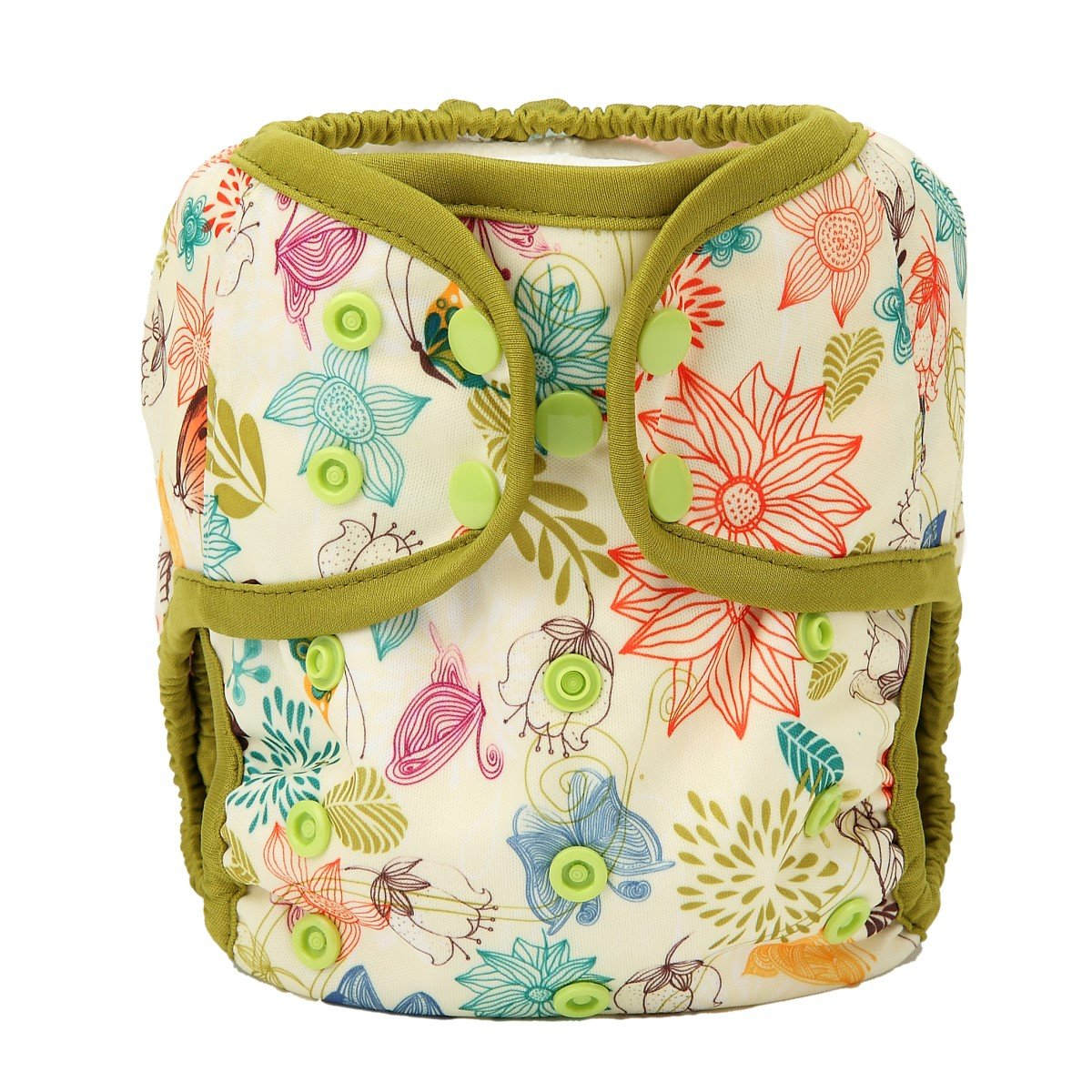 One Size Cloth Diaper Cover Snap With Double Gusset (Bloom)