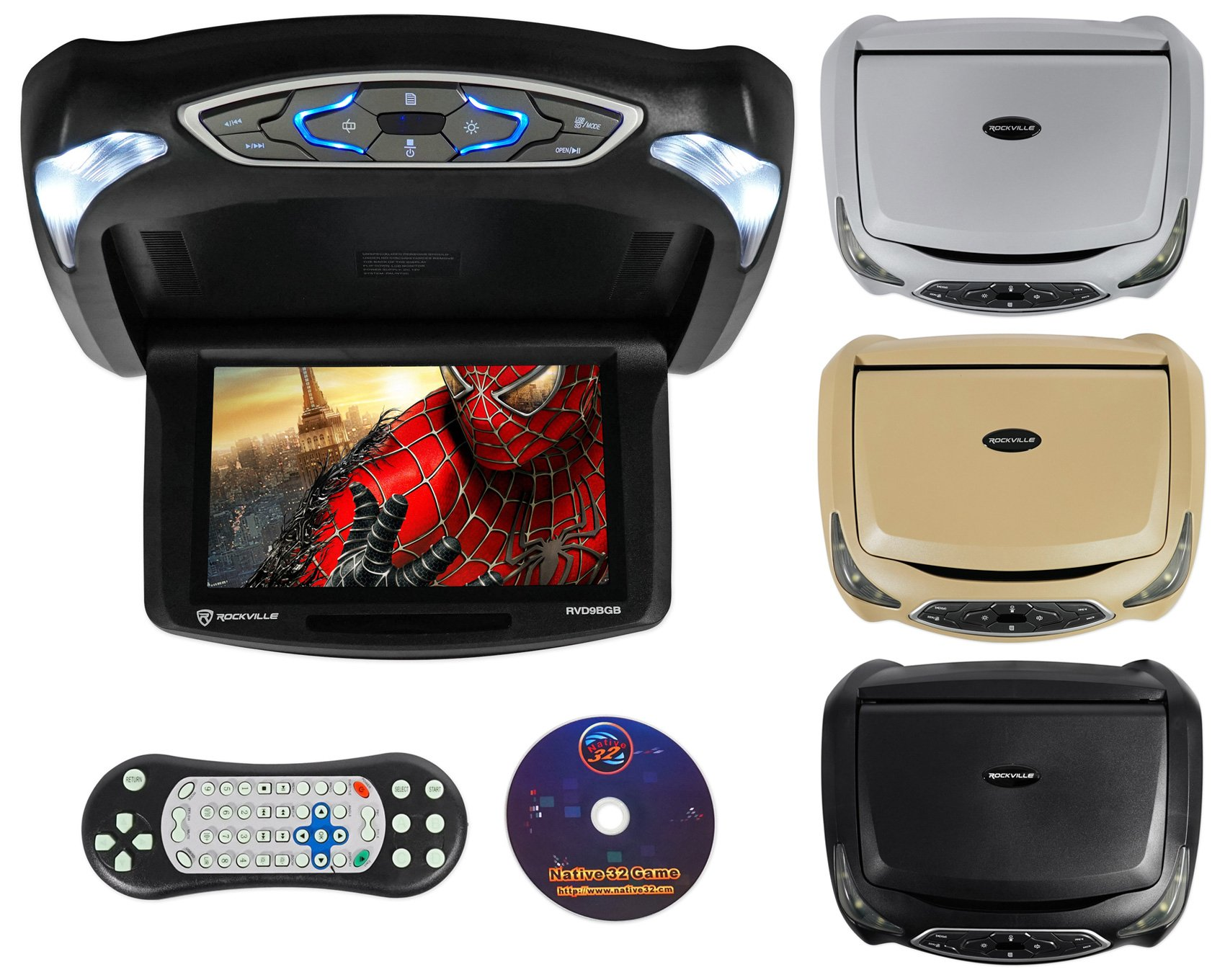 Rockville RVD9BGB Black/Grey/Beige 9'' Flip Down Car Monitor w DVD/HDMI/Games/USB