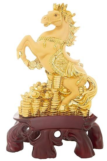 Aica Gifts Matt Golden Glazed Big Size Fengshui Horse Showpiece Show Piece for Home Office Décor