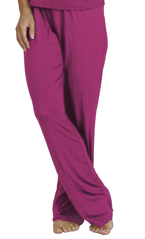 TALLA S. Ladies Slenderella PJ Pijama Pantalones con Cintura elástica, Negro o Rojo