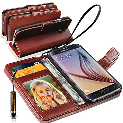 new product f50c2 c8b1e N+ INDIA Rich Leather Stand Wallet Flip Case Cover Book Pouch Phone Bag  Antique Leather for Samsung Galaxy J2 (2016) with Mini Touch Stylus Pen  Brown