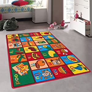Champion Rugs Kids/Baby Room/Daycare/Classroom/Playroom Area Rug. Alphabet Food. Educational. Fun. Playmat. Non-Slip Back. Bright Colorful Vibrant Colors (3 ft x 5 ft)