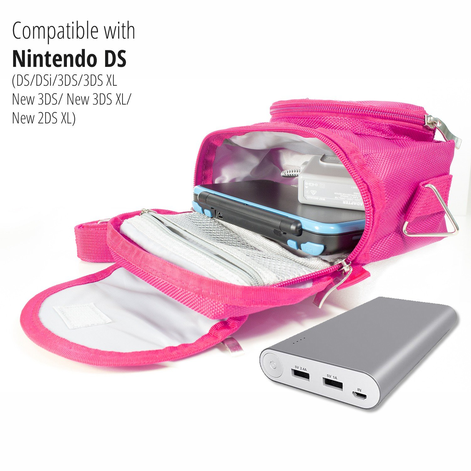 Orzly Travel Bag for Nintendo DS Consoles (New 2DS XL / 3DS / 3DS XL / New 3DS / New 3DS XL / Original DS / DS Lite / DSi / etc.) - Includes Belt Loop, Carry Handle, Shoulder Strap - PINK