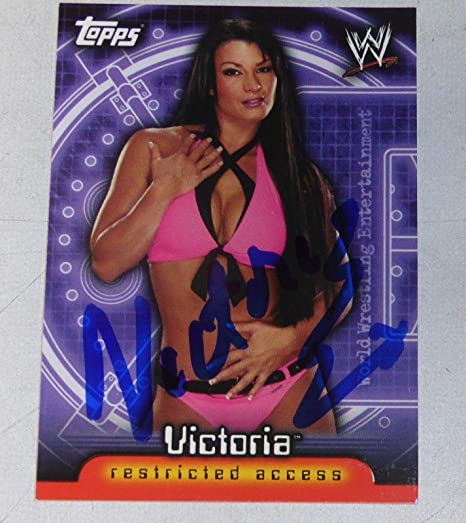 Worstelen Victoria Signed WWE 2006 Topps Insider Card #35 Pro Wrestling Diva Autograph TNA