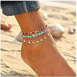 YAHPERN Anklets for Women Girls Color Beads Turquoise Drop Sequin Charm Adjustable Ankle Bracelets Set Boho Multilayer…