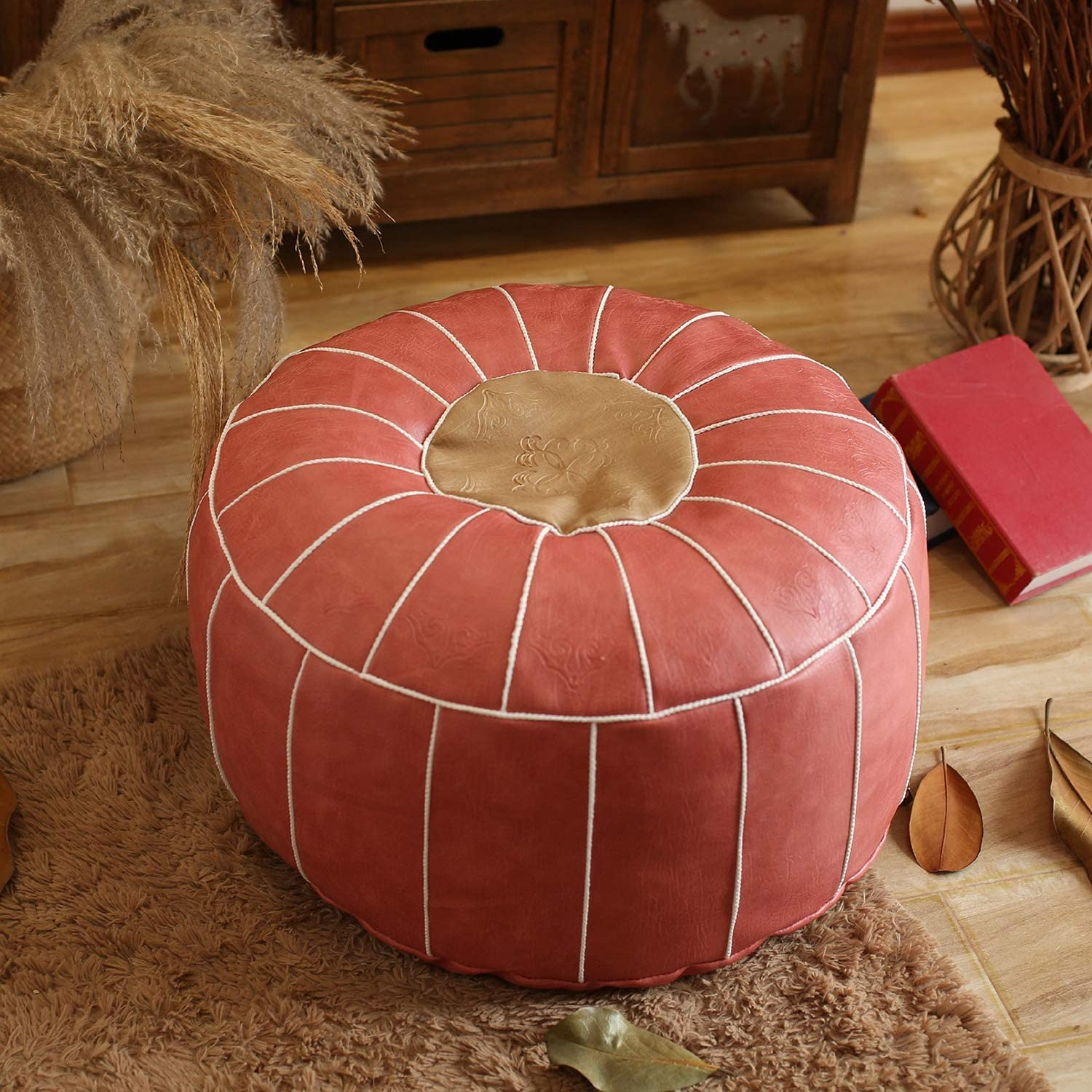 Leather Moroccan Pouf,Handmade Stuffed Embroidered Ottoman Footstool Home Decor Round Floor Cushion for Living Room Cafe-Pink 60x60x30cm(24x24x12inch)