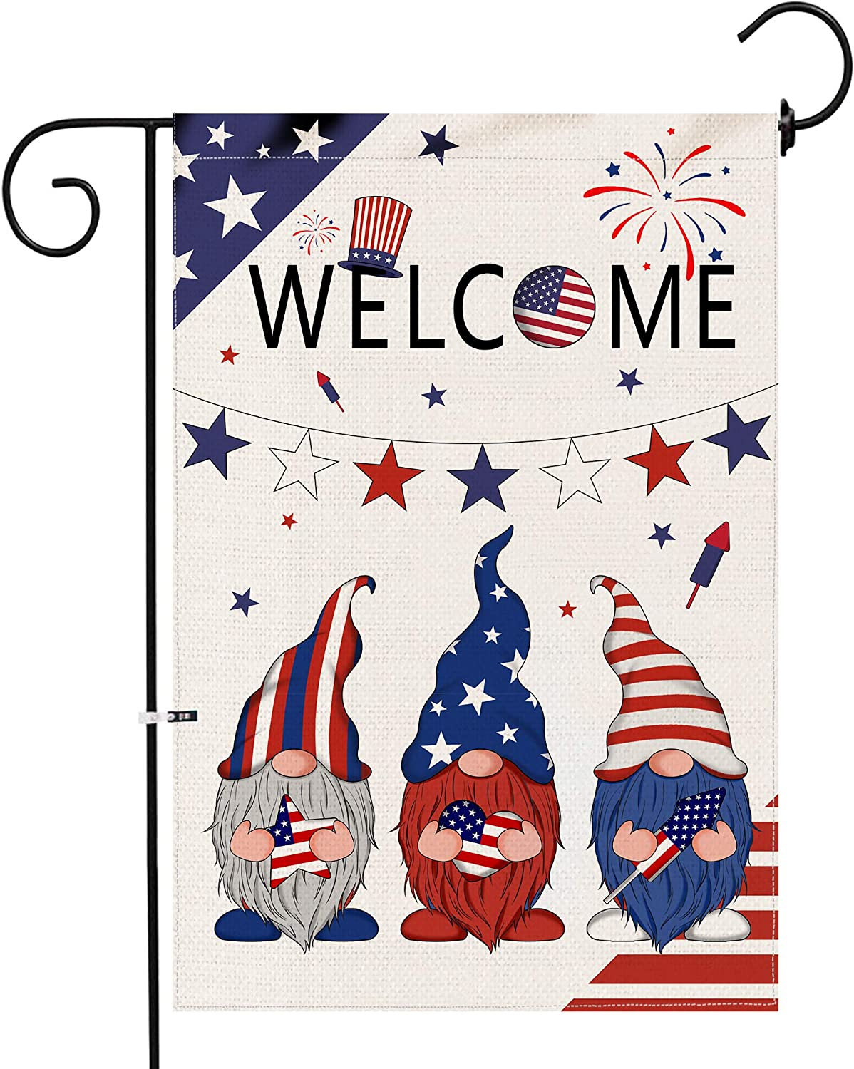 Hexagram 4th of July Welcome Gnomes Garden Flag,Burlap Patriotic Small Yard Flag 12x18 Double Sided,Outdoor American Independence Day Stars and Stripe Porch Home Memorial Day Decoration and Sign