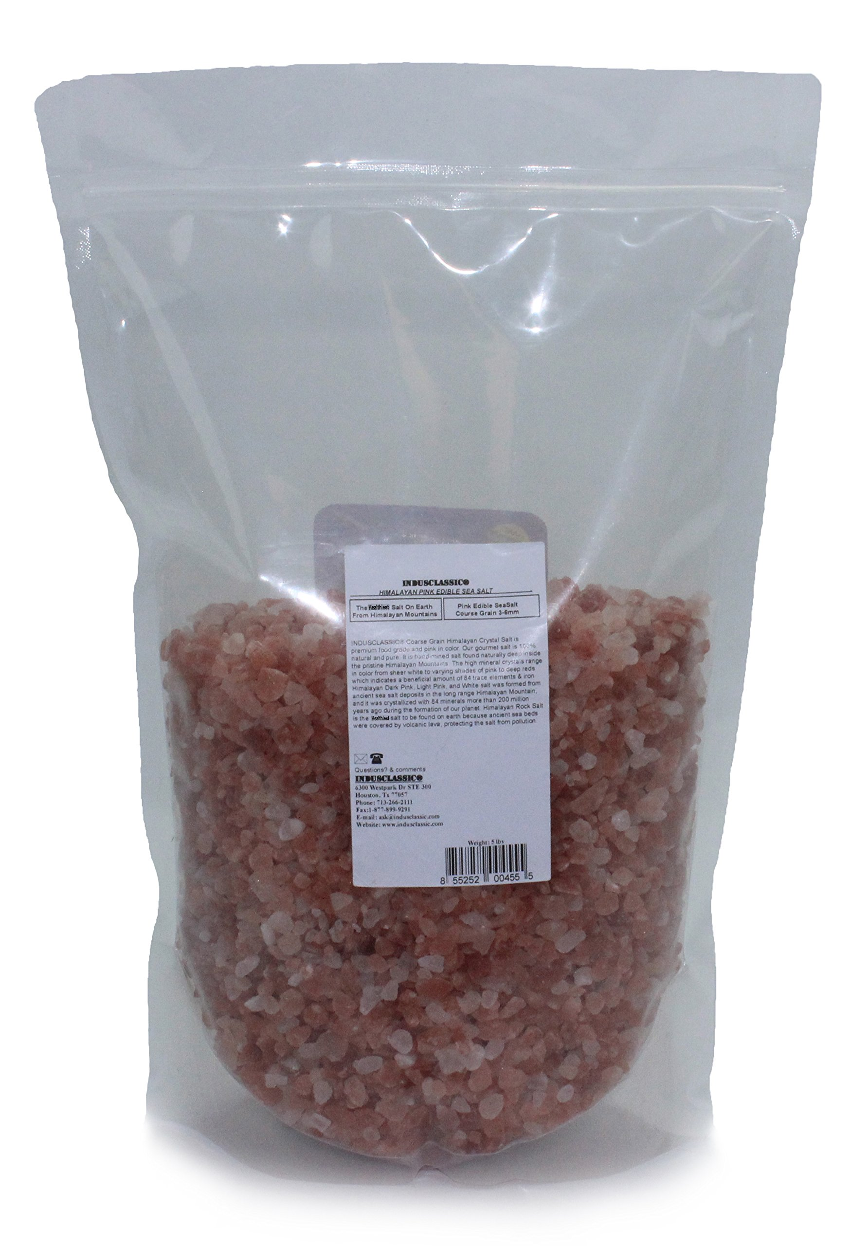 Indusclassic Kosher Pure Natural Unprocessed Himalayan Edible Pink Cooking Coarse Grain Salt (5 lbs Coarse Grain 3~6mm)