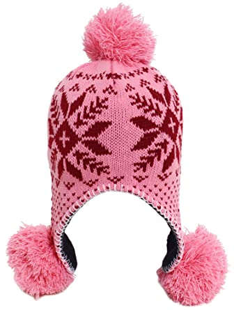 47468dafb62fb Image Unavailable. Image not available for. Color  Women s Winter Warm Pom  Pom Beanie Hats Caps with Ear ...