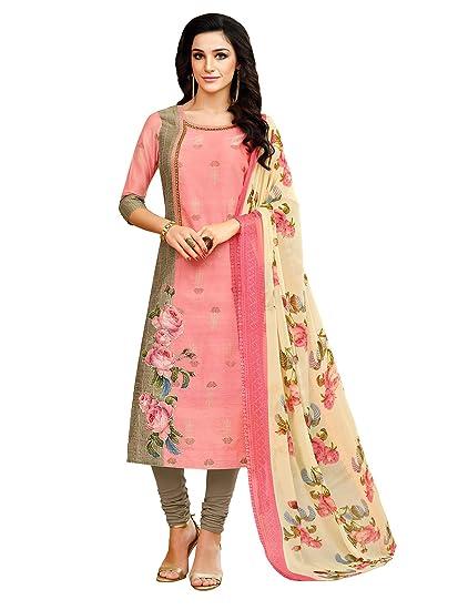 3c0bdfd800 AKHILAM Women s Chanderi Cotton Semi Stitched Salwar Suit (Pink Free Size)   Amazon.in  Clothing   Accessories