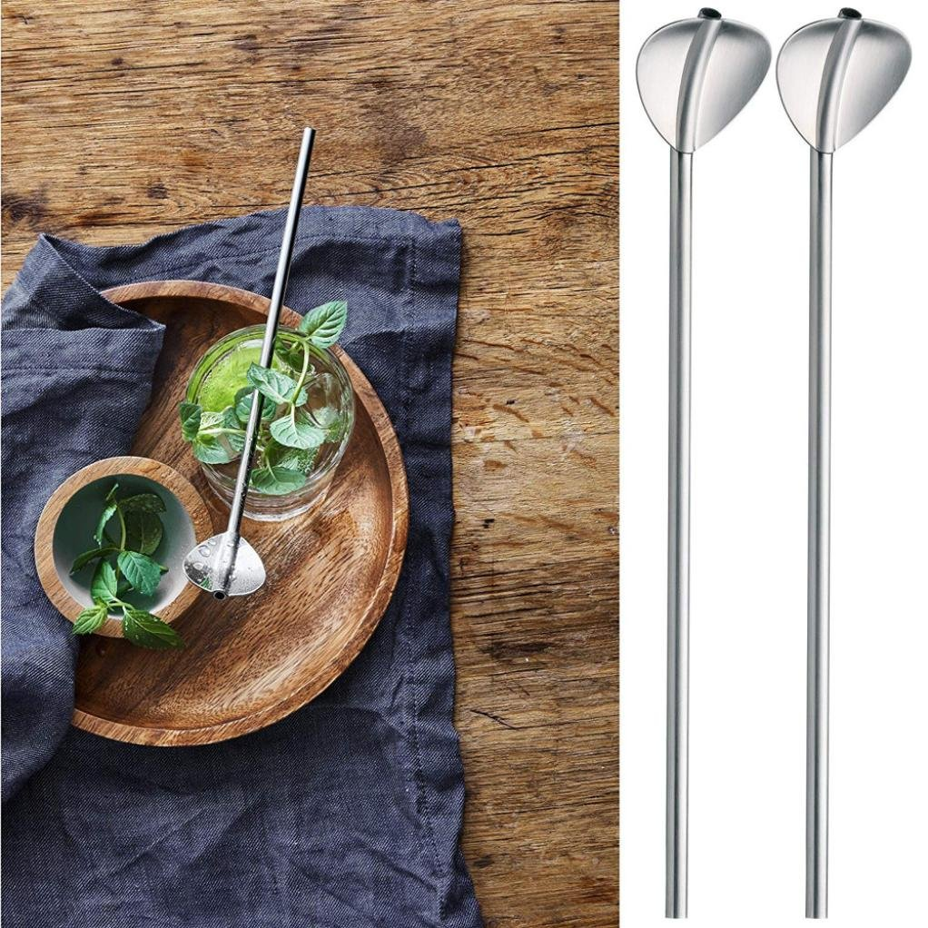 XEDUO 2 Pcs Stainless Steel Metal Long Handle Coffee Tea Spoons Drinking Straw Reusable Straws Cocktail Spoons Stirrer Spoons Gift Tableware Set (Silver)