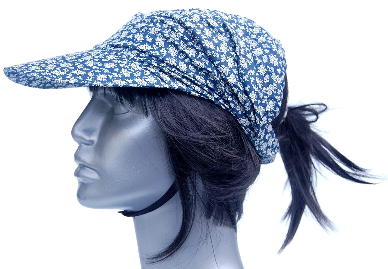 Cool4 Sommer Schirm Kopftuch Jeansblau wei/ß gebl/ümt Strand Cap Bandana Sonnenschutz M/ütze Chemo KT29