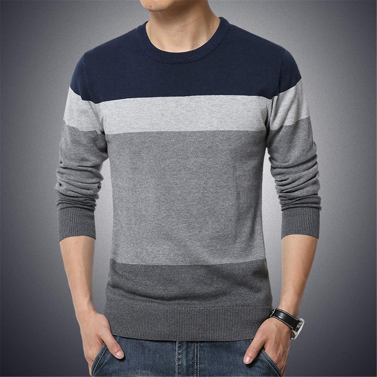 Ariosto0 Casual Pullover Men Autumn Round Neck Patchwork Quality Knitted