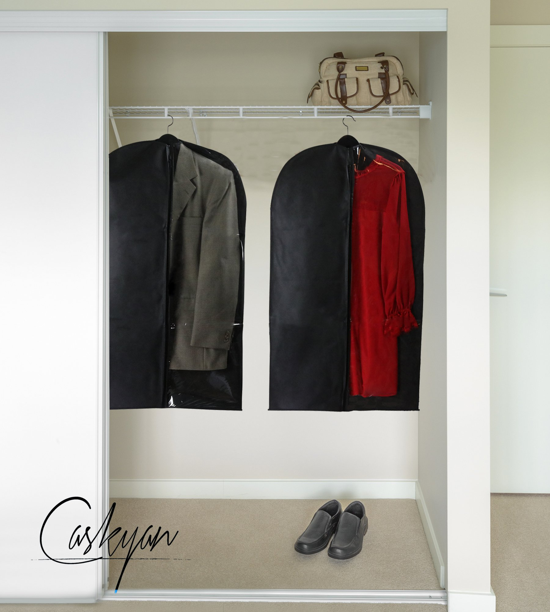 Caskyan 42'' Garment Bags, Breathable Black Non-Woven Fabric + Clear PVC for Dresses, Coats, Suits, Storage or Travel- 2 Pcs by CASKYAN (Image #5)