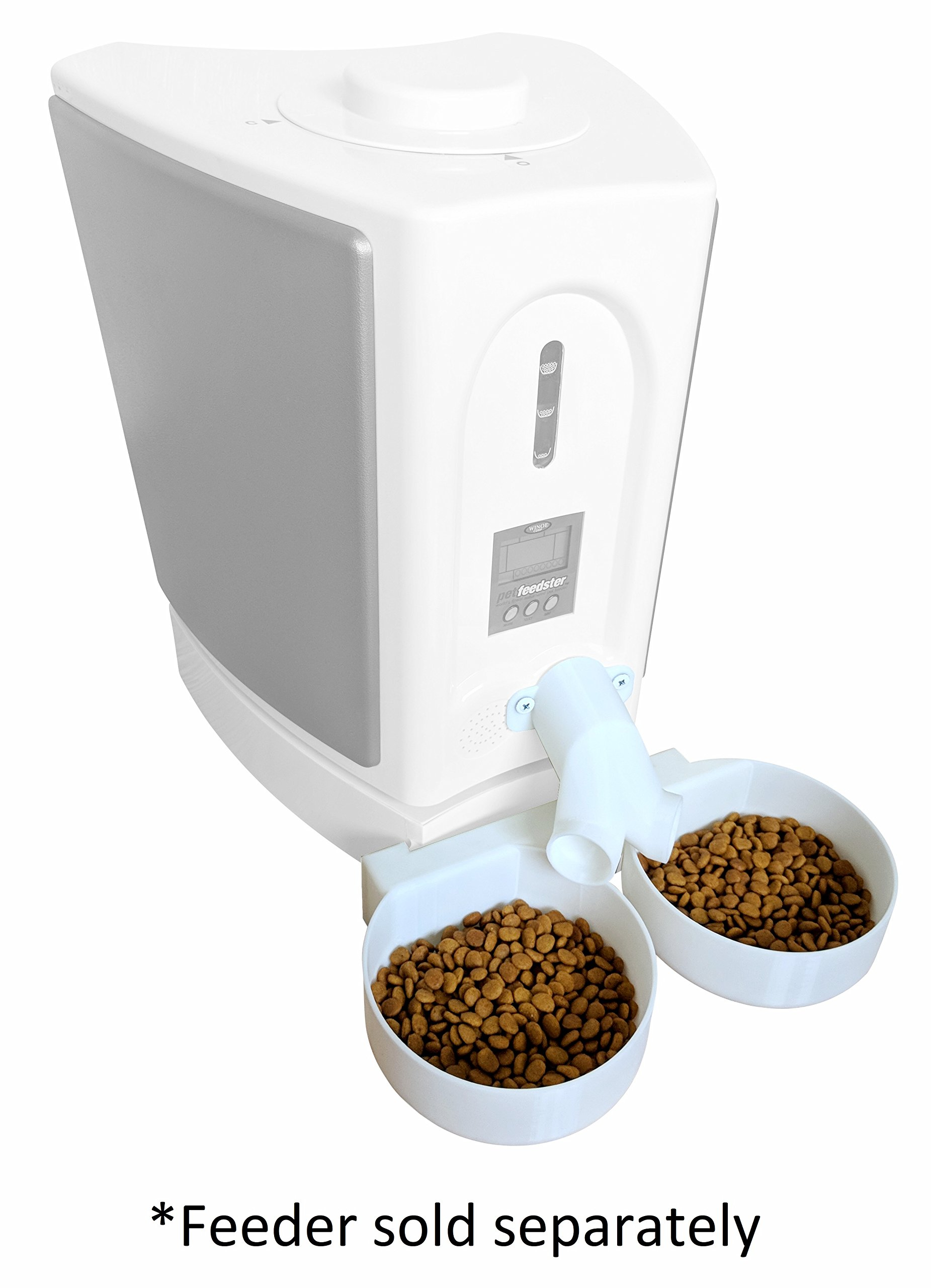 Precision 3D Prints Two-Way Splitter and Two Bowl Attachment - for New! Pet Feedster PF-10 PLUS CAT - Automated Pet Feeder for Cats