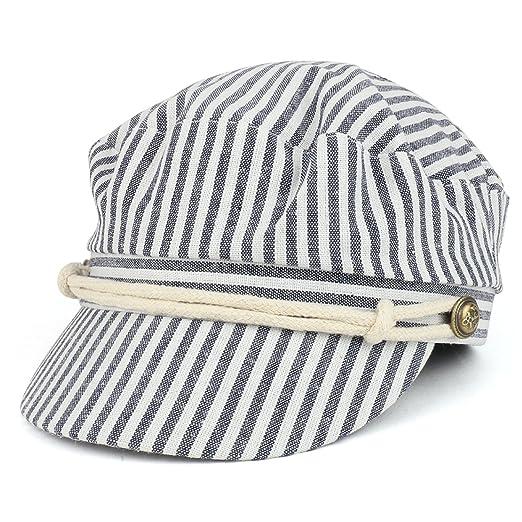 Trendy Apparel Shop Women s Greek Sailor Pinstriped Cotton Baker Boy Hat -  Navy 9b08a7d5fdf