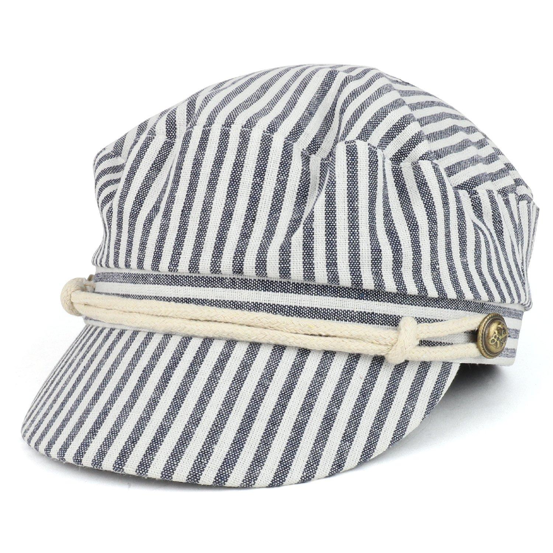 Trendy Apparel Shop Women's Greek Sailor Pinstriped Cotton Baker Boy Hat - Navy