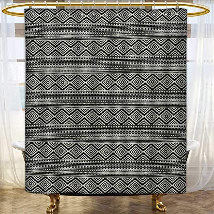 Lacencn SouthwesternShower Curtains Mildew ResistantNative American Ethnic Pattern Antique Tribal Culture Geometric