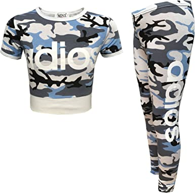 GIRLS KIDS ADIOS CAMOUFLAGE PRINT CROP TOP AND BOTTOM TRACKSUIT LOUNGE WEAR SET