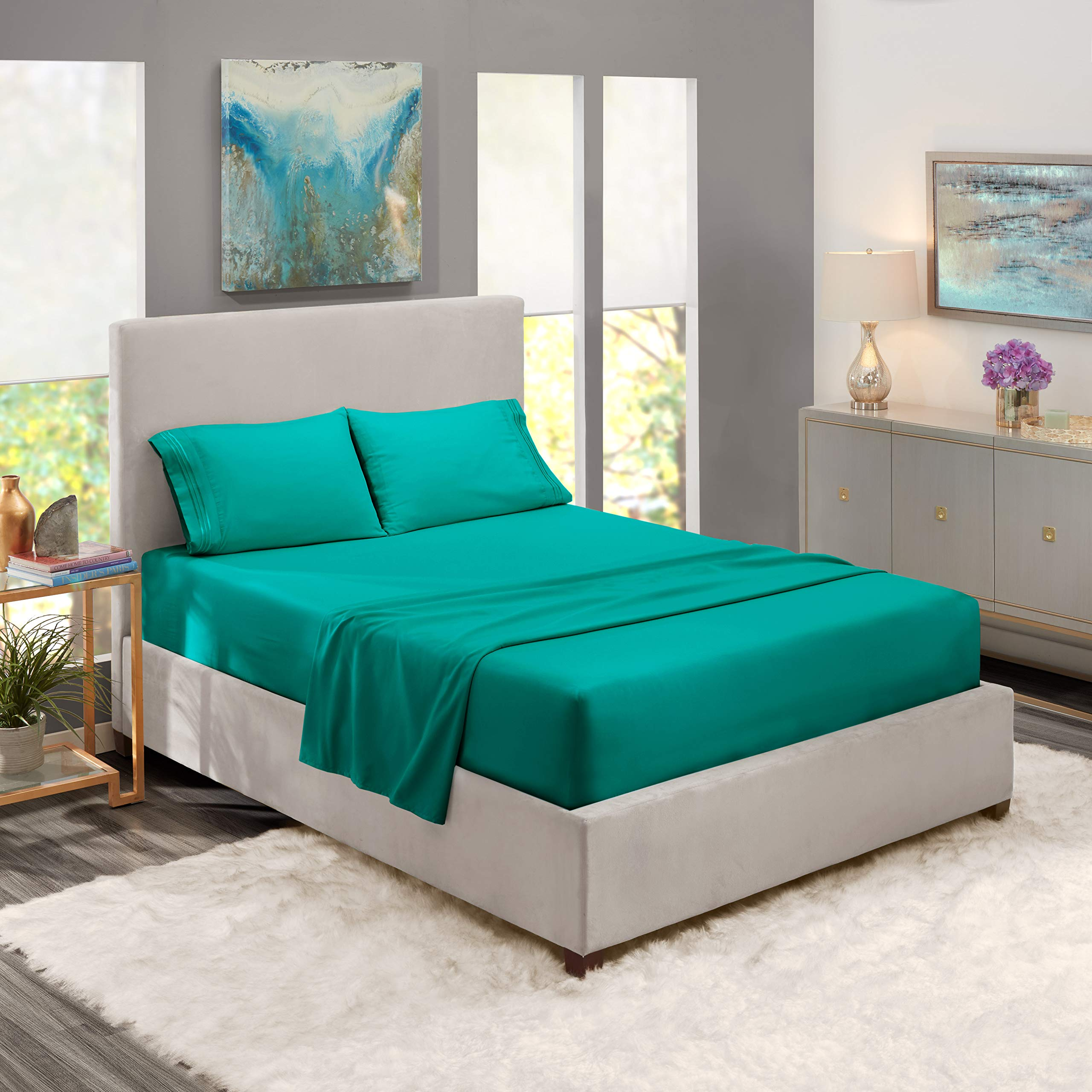 Nestl Bedding Soft Sheets Set - 4 Piece Bed Sheet Set, 3-Line Design Pillowcases - Easy Care, Wrinkle Free - Good Fit Deep Pockets Fitted Sheet - Free Warranty Included - Queen, Teal by Nestl Bedding