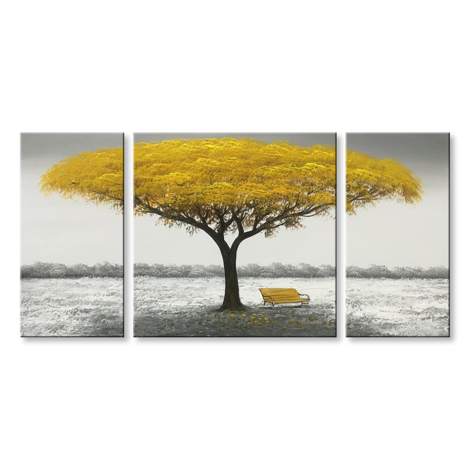 Winpeak Hand Painted Yellow Tree Large Modern Oil Painting Landscape Canvas Wall Art Abstract Picture Huge Contemporary Artwork Framed Ready to Hang (64''W x 32''H (16''x32'' x2pcs, 32''x32'' x1pc)) by Winpeak Art