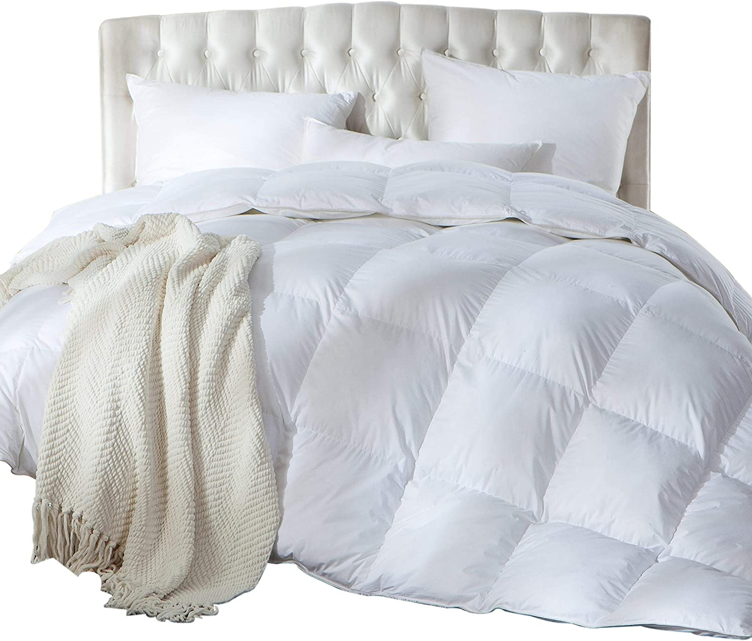 Luxurious King/California King Size Siberian Goose Down Comforter, Duvet Insert, 1200 Thread Count 100% Egyptian Cotton, 750+ Fill Power, 70 oz Fill Weight, 1200TC, White Solid: Home & Kitchen
