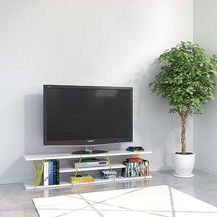 Arredamento Soggiorno Mobile Tv.Mobile Tv Sala Ripiani Cassetti Tars Bianco Giallo Homemania