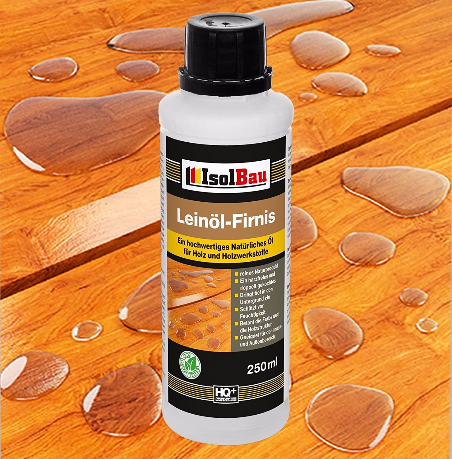 0.25Litres Cooked Double Natural Wood Protection Linseed Oil Varnish Wood Oil Boiled Linseed Oil Furniture Wood Stain Preservative Wood for Wood Resin Resin Polish Varnish Free Isolbau