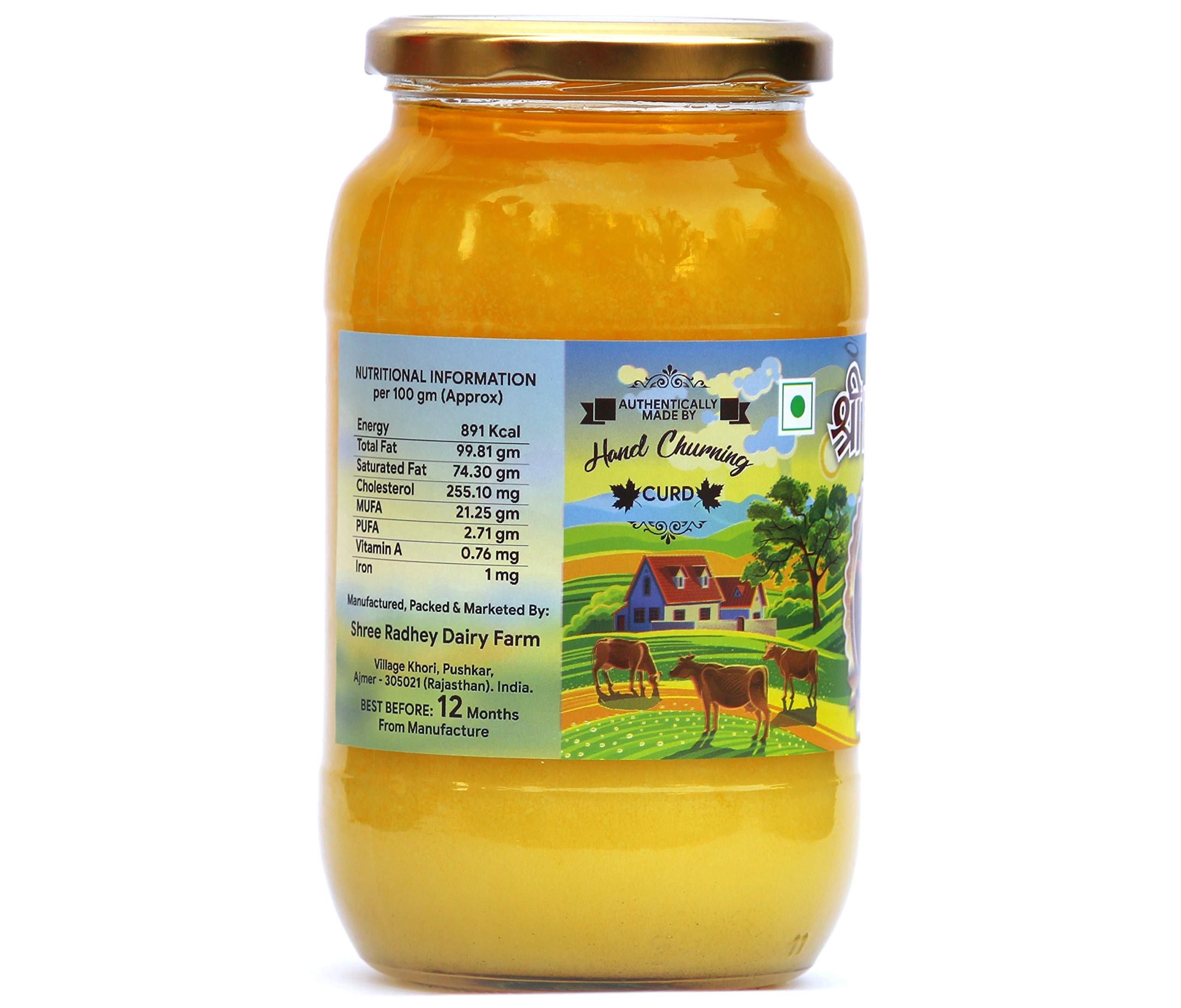 Shree Radhey Certified A2 Gir Cow Ghee - Gluten Free - (Traditionaly Hand Churned) 1000 ml by Shree Radhey (Image #3)