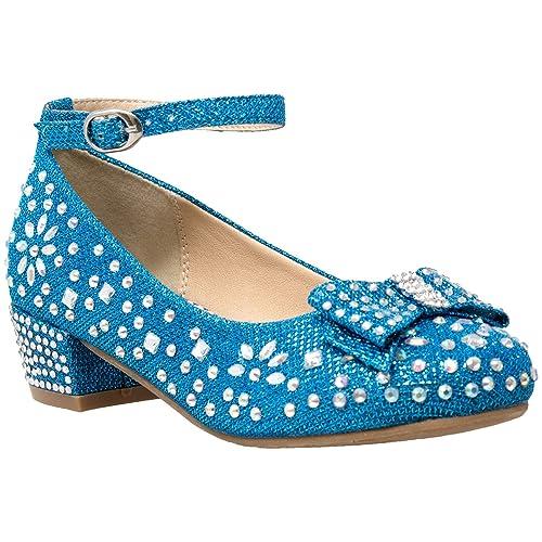 ceea24fdce205 SOBEYO Girl's Dress Shoes Glitter Rhinestone Bow Accent Mary Jane Kids Pumps