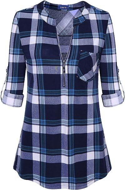 Odosalii Damen V-Ausschnitt Kariert Bluse 3//4 /Ärmel Kurzarm Rei/ßverschluss Tunika Tops Longshirt Hemd T-Shirt