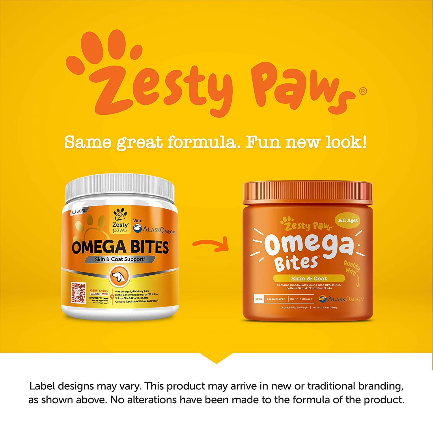 Zesty Paws Omega 3 Alaskan Fish Oil Chew Treats for Dogs – with AlaskOmega for EPA DHA Fatty Acids – for Shiny Coats Itch Free Skin – Hip Joint Support Heart Brain Health Bacon