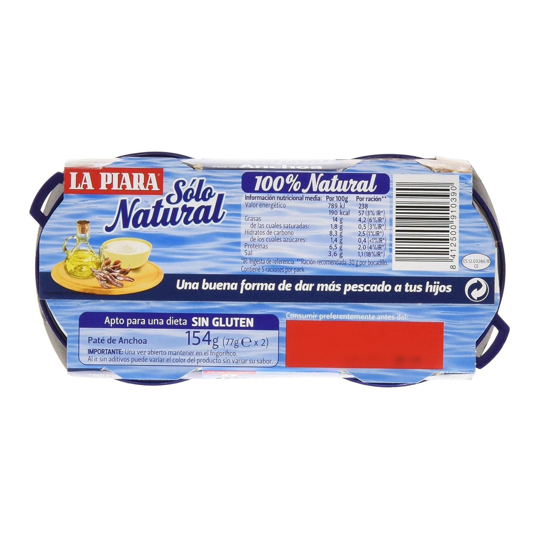 Piara - Paté Anchoa Solo Natural, 154 g: Amazon.es ...